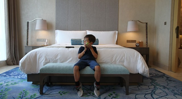 child in room at hotel Raffles Jakarta