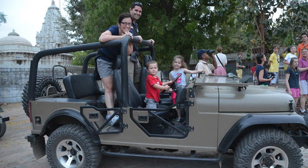 Family in jeep at family-friendly hotel Rawla Narlai Rajasthan