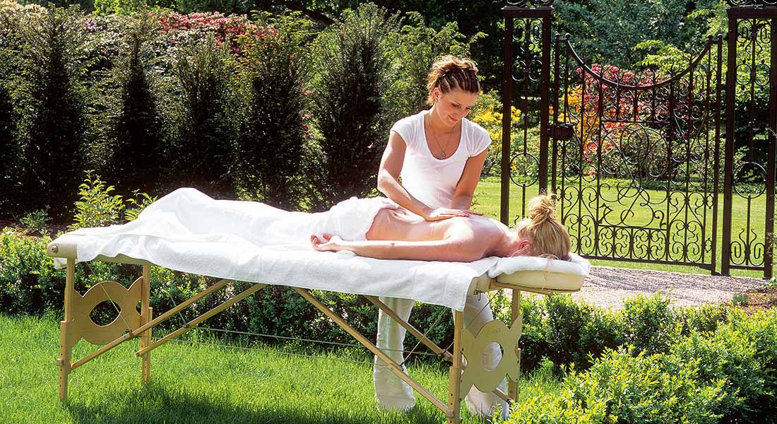 massages in the park at family friendly hotel Brenners Park Baden-Baden Germany