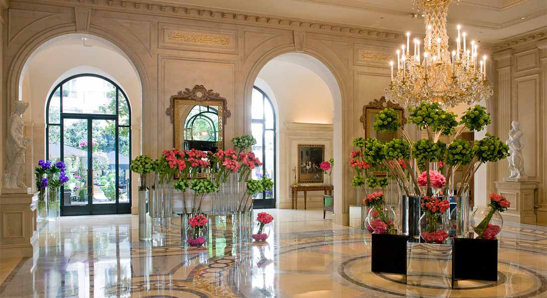 Flowers at lobby at kid-friendly Hotel Four Seasons George V Paris