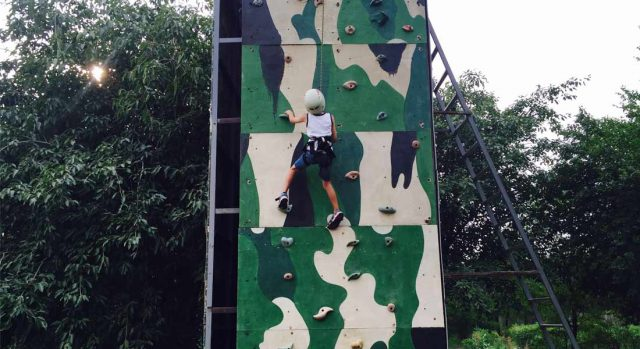 Rock climbing wall at family-friendly hotel Taj Damdama Lake in Delhi
