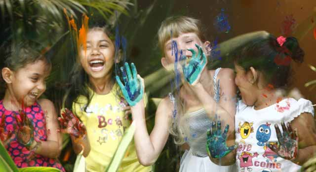 Children painting at kid-friendly hotel Alila Diwa Goa