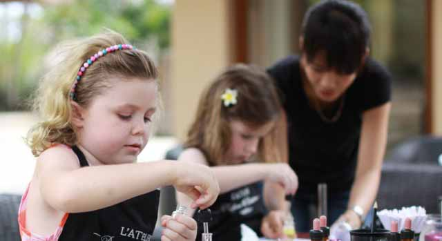 children making perfumes at kid-friendly hotel Ayana Bali
