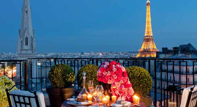 Eiffel Tower from hotel Four Seasons Paris