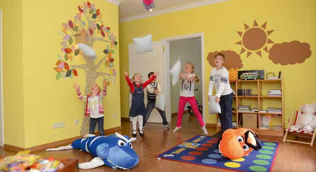 kids at kids club at family-friendly hotel Brenners Park Baden Baden, Germany
