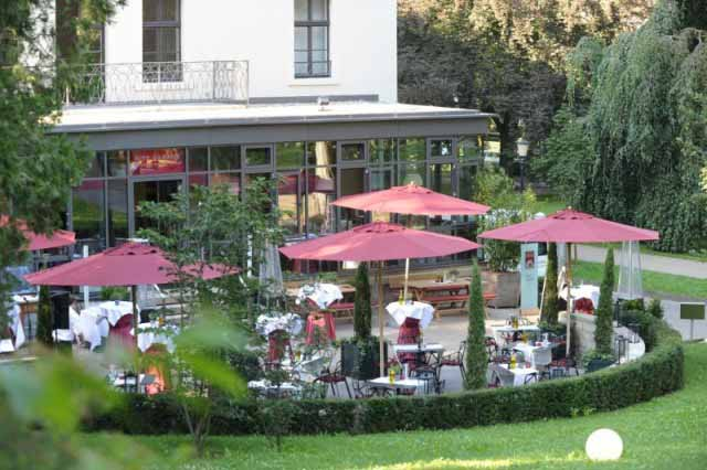 outdoor restaurant at family friendly hotel Brenners Park Baden-Baden Germany