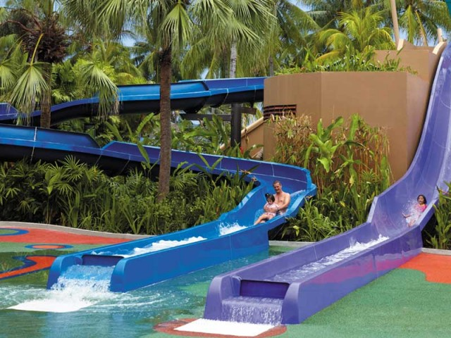 water slides at family-friendly hotel Shangri-La Tanjung Aru in Kota Kinabalu