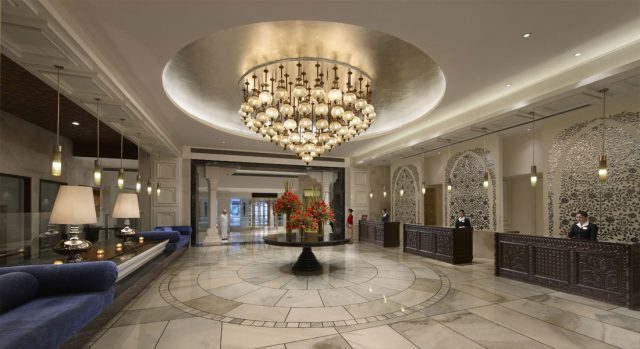 lobby at luxury family-friendly hotel ITC Mughal in Agra, India